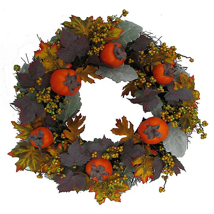 Alternate image 1 for Bee & Willow™ 22-Inch Persimmon and Berry Vine Wreath in Orange