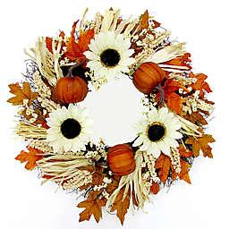22-Inch Sunflower Berries and Pumpkin Spiral Vine Wreath in Rust/Cream