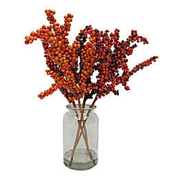 14-Inch Fall Berry Water Garden in Red with Glass Vase