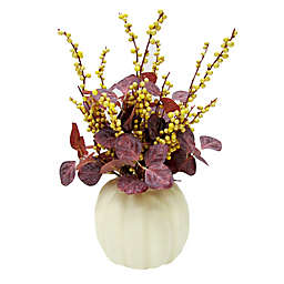 Bee & Willow™ 19-Inch Faux Pumpkin Berries and Leaves Centerpiece in Purple/Yellow