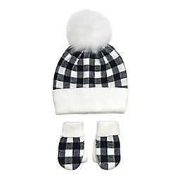 NYGB™ Buffalo Check Hat and Mitten Set in Black/White
