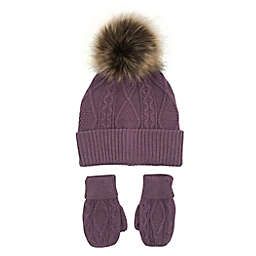 NYGB™ 2-Piece Cable Knit Pom-Pom Hat and Mitten Set in Rouge