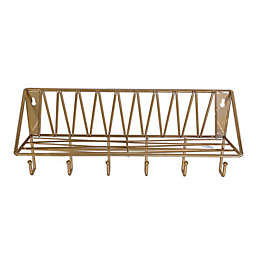 Wild Sage™ Wire Wall Shelf with Hooks in Gold