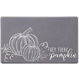 "18"" x 30"" ""Hey There Pumpkin"" Comfort Kitchen Mat in Grey"
