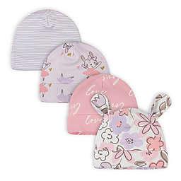 Gerber® Size 0-6M 4-Pack Bunny Ballerina Caps in Purple