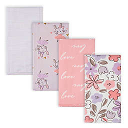 Gerber® 4-Pack Bunny Flannel Burp Cloths in Purple