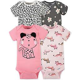 Gerber® Onesies® 4-Pack Leopard Bodysuits in Pink