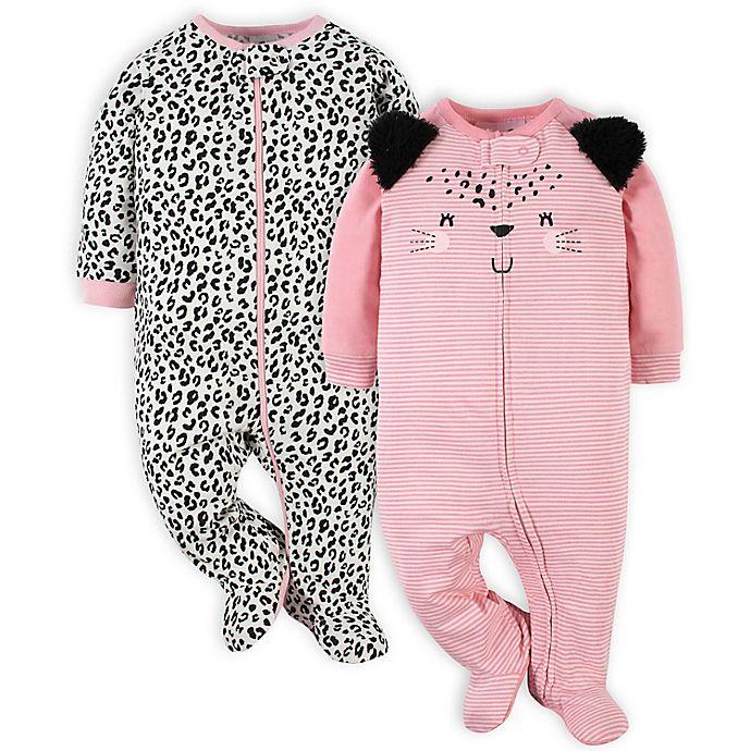 Alternate image 1 for Gerber® 2-Pack Leopard Sleep 'n Play Footies in Pink
