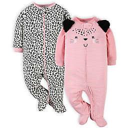 Gerber® 2-Pack Leopard Sleep 'n Play Footies in Pink