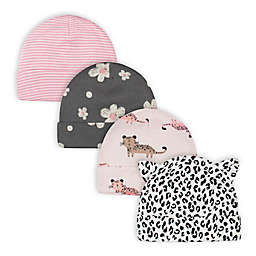 Gerber® Size 0-6M 4-Pack Leopard Caps in Pink