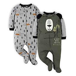 Gerber® Size 0-3M 2-Pack Bear Sleep 'n Plays in Oilve/Grey