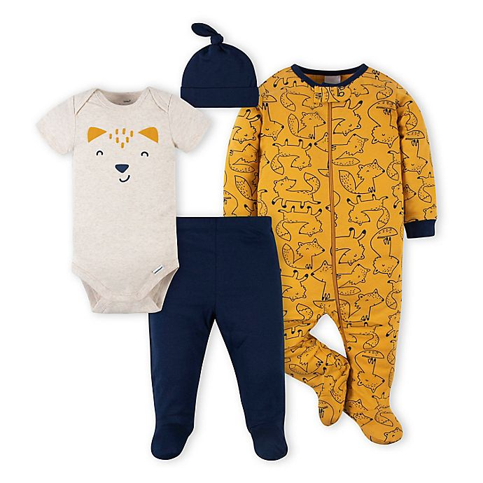 Alternate image 1 for Gerber® 4-Piece Fox Footie, Bodysuit, Footed Pant, and Hat Set in Blue