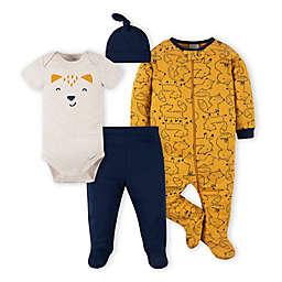 Gerber® Preemie 4-Piece Fox Footie, Bodysuit, Footed Pant, and Hat Set in Blue