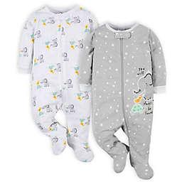 Gerber® Size 0-3M 2-Pack Elephant Sleep 'n Plays in Grey