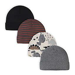 Gerber® Size 0-6M 4-Pack Dino Caps in Grey
