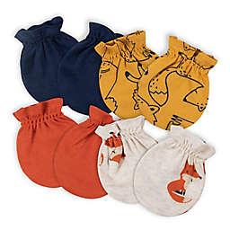 Gerber® 4-Pack Fox No-Scratch Mittens in Orange