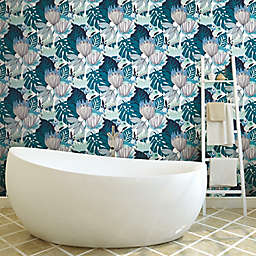 RoomMates® Retro Tropical Leaves Peel & Stick Wallpaper in Blue/Green