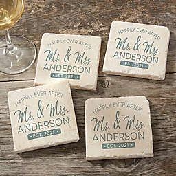 Stamped Elegance Wedding Tumbled Stone Coasters (Set of 4)