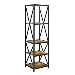 "Forest Gate™ Blair Industrial 61"" Open Bookshelf in Rustic Oak"