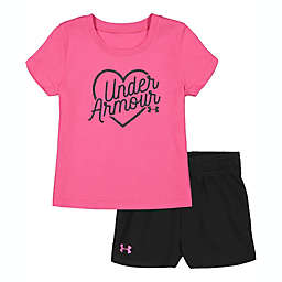 Under Armour® 2-Piece Heart Outline Logo Shirt and Short Set in Pink