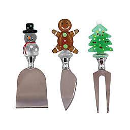 Gingerbread Man/Christmas Tree/Snowman 3-Piece Cheese Knife Set