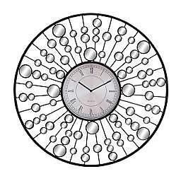 Ridge Road Décor 26-Inch Round Glam Metal Wall Clock in Black