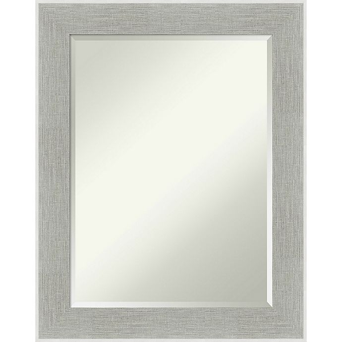Glam Linen Framed Wall Mirror In Grey, Decorative Wall Mirrors Bed Bath And Beyond