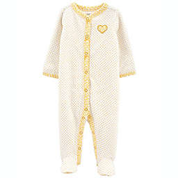 carter's® Size 6M Heart Snap-Up Cotton Sleep & Play in Cream/Gold