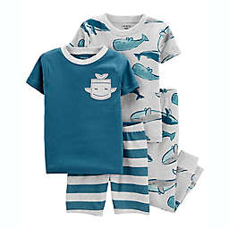 carter's® Size 24M 4-Piece Whales 100% Snug Fit Cotton PJs in Grey/Blue