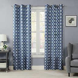 Mandala Crushed Microfiber 84-Inch Grommet Room Darkening Window Curtain Panel in Blue (Single)