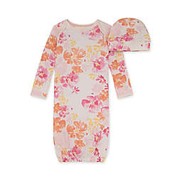 Burt's Bees Baby® 2-Piece Sunset Bloom Gown and Cap Set in Pink/Orange
