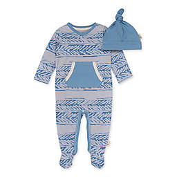 Burt's Bees Baby® 2-Piece Soaring Ladder Jumpsuit and Knot Top Hat Set in Blue