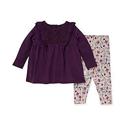 Burt's Bees Baby® Size 18M Crochet Tunic and Floral History Legging Set