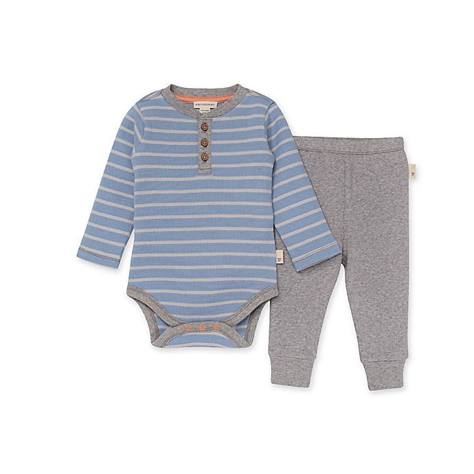 Alternate image 1 for Burt's Bees Baby® Stripe Organic Cotton Thermal Bodysuit and Pant Set in Blue