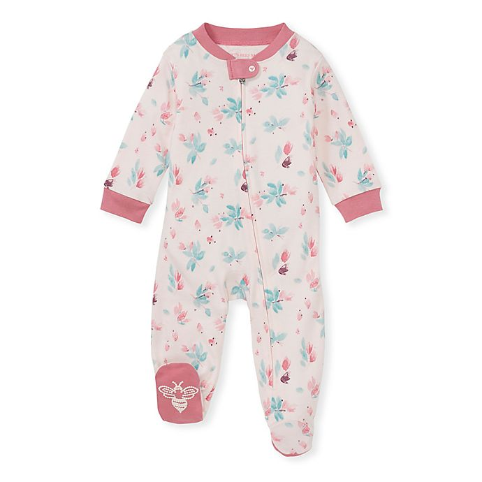 Alternate image 1 for Burt's Bees Baby® Lovely Floral Sleep & Play Footie in Pink/Mint