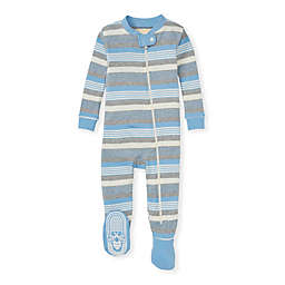 Burt's Bees Baby® Organic Cotton Long Road Stripe Footed Pajama in Blue/Grey