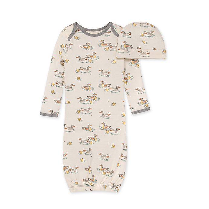 Alternate image 1 for Burt's Bees Baby® Size 0-6M 2-Piece Splashing Ducks Gown and Cap Set in Eggshell