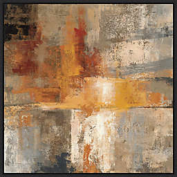 Silver and Amber 22-Inch Square Framed Art in Black