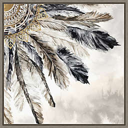 Necklace of Feathers III 16-Inch Square Framed Wall Art