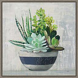 Succulent Still Life II Navy 16-Inch Square Framed Wall Art