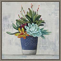 Succulent Still Life I Navy 16-Inch Square Framed Wall Art