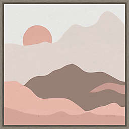 Mountainous II Pink 16-Inch Square Framed Wall Art