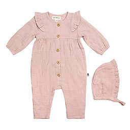 Rabbit+Bear Size 0-3M 2-Piece Organic Cotton Coverall and Bonnet Set in Pink