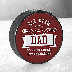 All-Star Dad Official Hockey Puck in Black