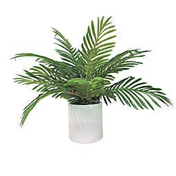 LCG Floral 19-Inch Faux Phoenix Palm with White Deco Ceramic Pot