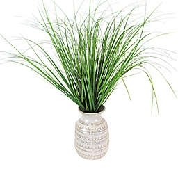 LCG Floral 24-Inch Faux Grass Arrangement with Patterned Ivory Ceramic Urn