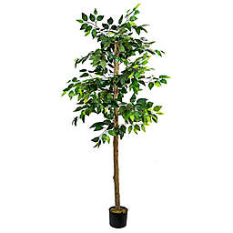 LCG Floral 72-Inch Faux Ficus Tree with Black Plastic Pot