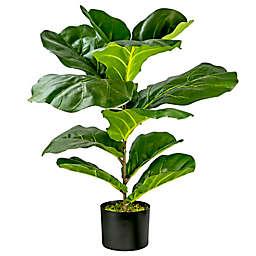 LCG Floral 30-Inch Faux Fiddle Leaf Fig Bush with Black Plastic Pot