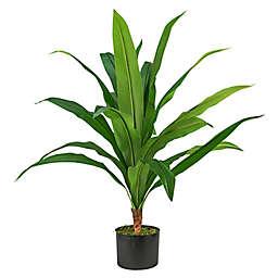 LCG Floral 36-Inch Faux Dracaena Plant with Black Plastic Pot