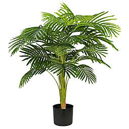 LCG Floral 38-Inch Faux Palm Tree with Black Plastic Pot